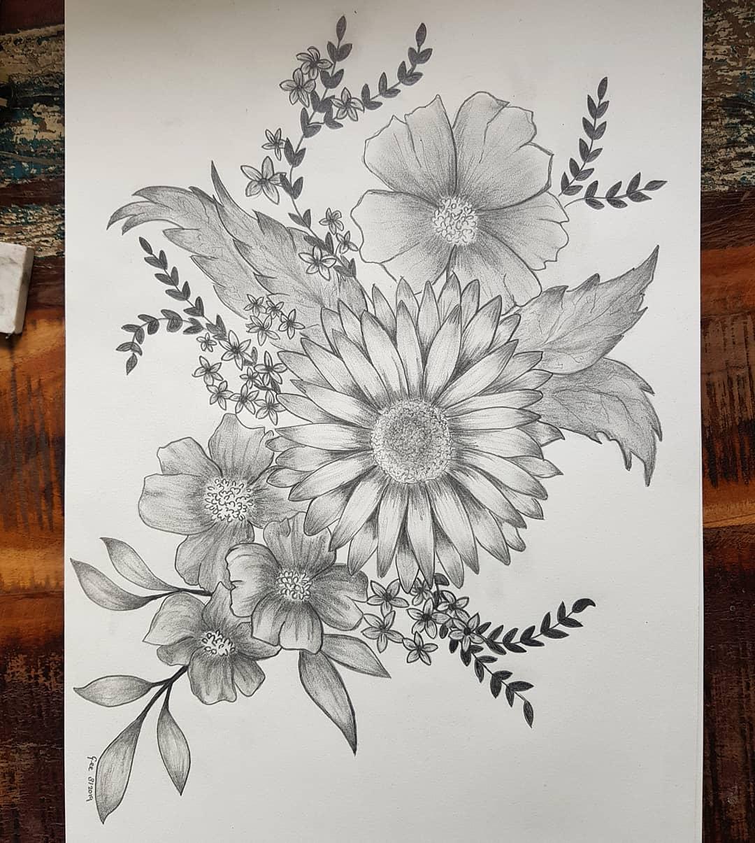 Tekening van Bloemen