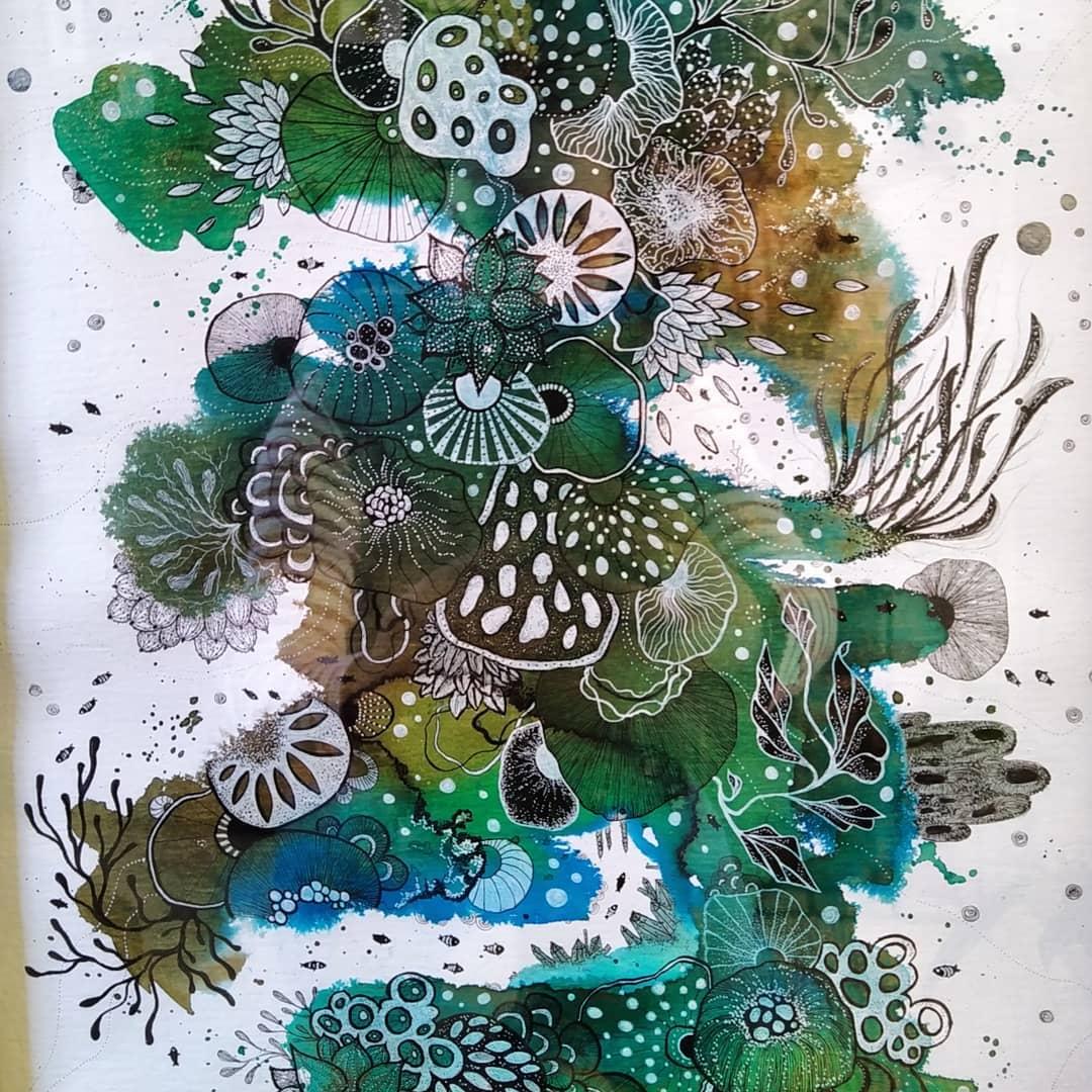 Waterverf mixed media tekening van onderwater reef genaamd Ocean Abyss