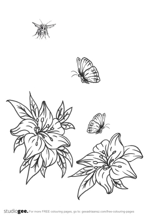 Colouringpage Flowers Butterflies Bee
