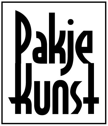 Logo van Pakje Kunst met zwarte letters op wit achtergrond