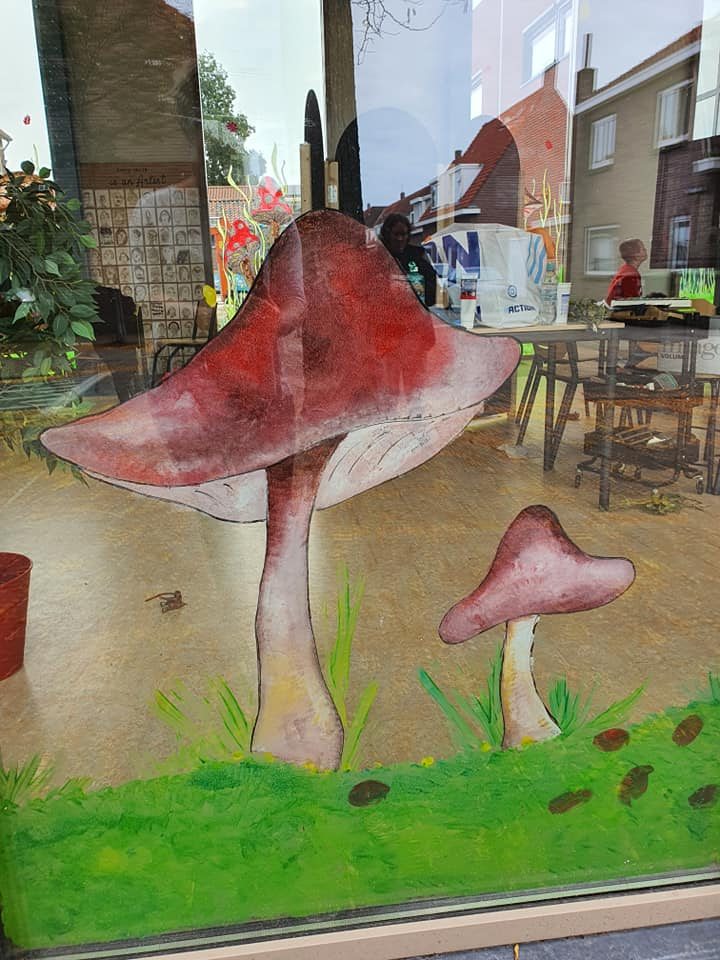 paddenstoelen raamschildering